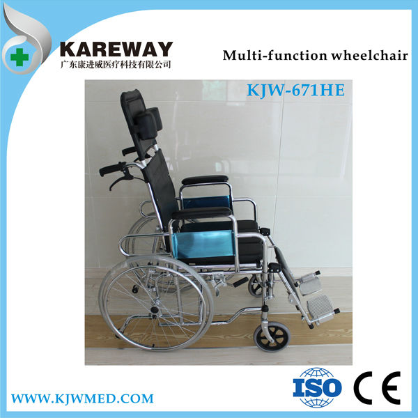 Multi-function high back manual reclining wheelchair