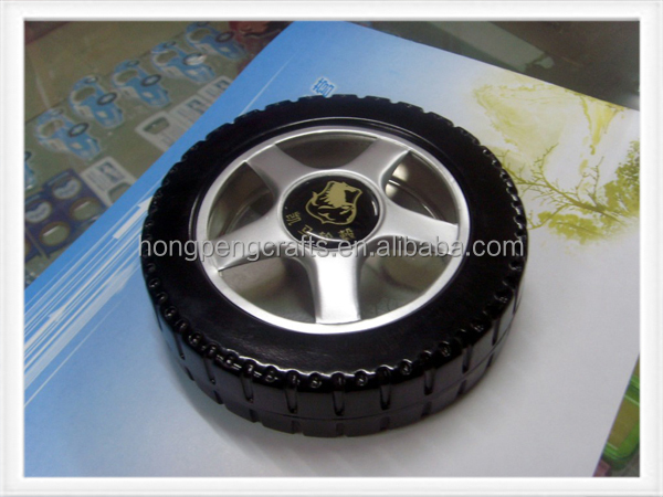 custom logo black color tyre shape ashtray
