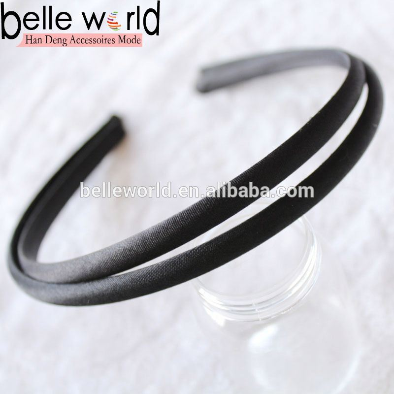 10mm width black satin cover plastic hairband