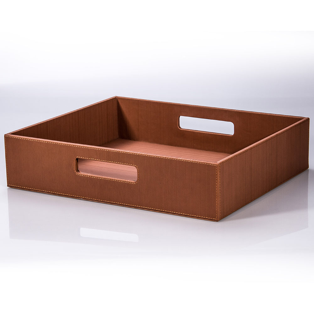 Promotional PU leather & Wooden shoes tray in coffee color