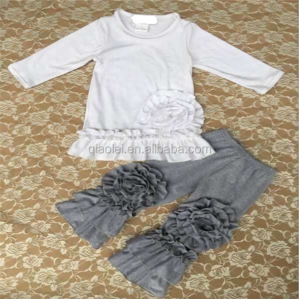 Top Quality Kids Boutique Clothing Branded White Shirt and Grey pants