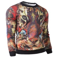 2015 New Fashion Men's casual sweater 3 d animal motifs M-XXL