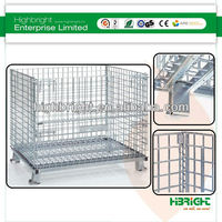 Collapsible Wire Mesh Container/rolling metal storage cage