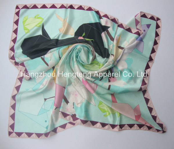 Large Size Silk Scarf 90x90cm Digital Print 10mm twill silk