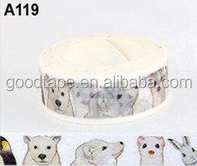 New 15mm*10m Animal Series Bear Dog Rabbit Mouse Washy Tape Diary Masking Tape Brand H