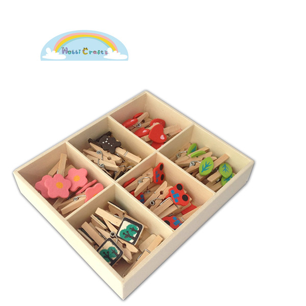 Wooden Mini Clothespins for DIY with Box Package