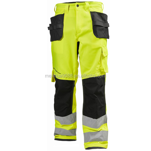 High quality reflective safety work pants Hi vis workwear cargo trousers