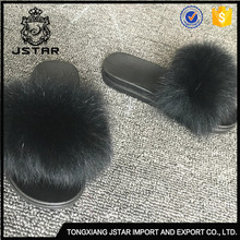 Various Styles Kids Fancy Slippers Child 100%Fox Fur Flat Slipper