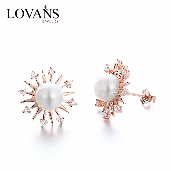 Fashion Designs New Model Gold Earrings Designs For Girls White Pearl Jewelry SEK018R