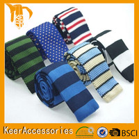 Light blue high quality polyester knitted tie free sample OEM service