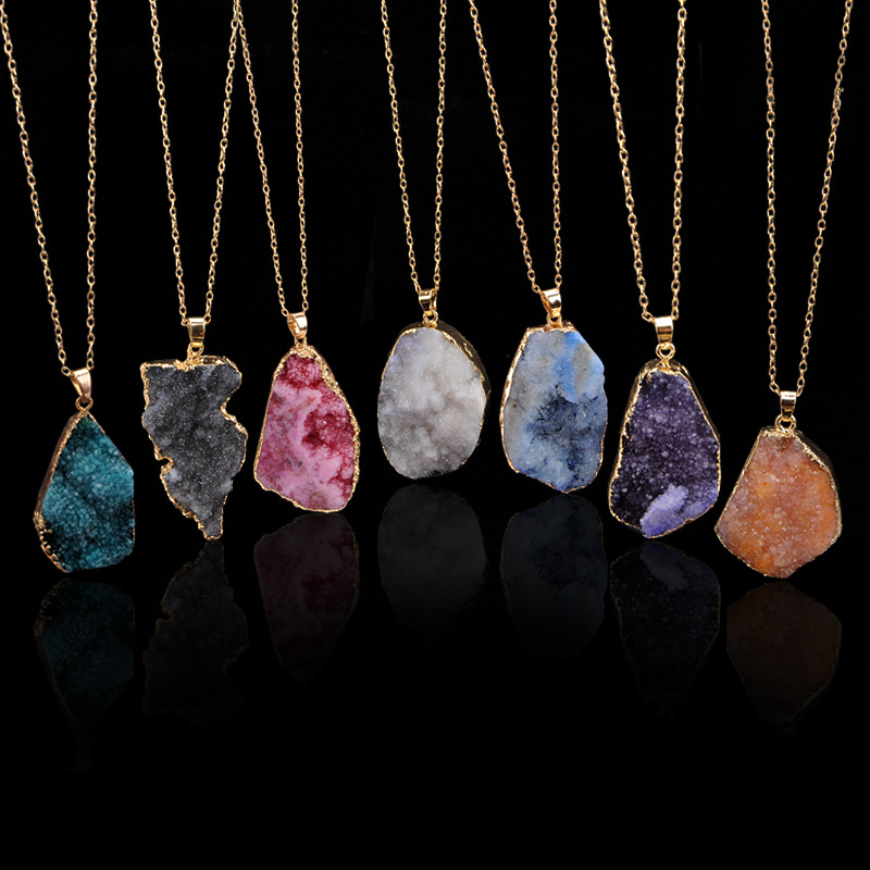 Irregular stone Natural blue purple quartz crystal turquoise necklace pendants jewelry A076