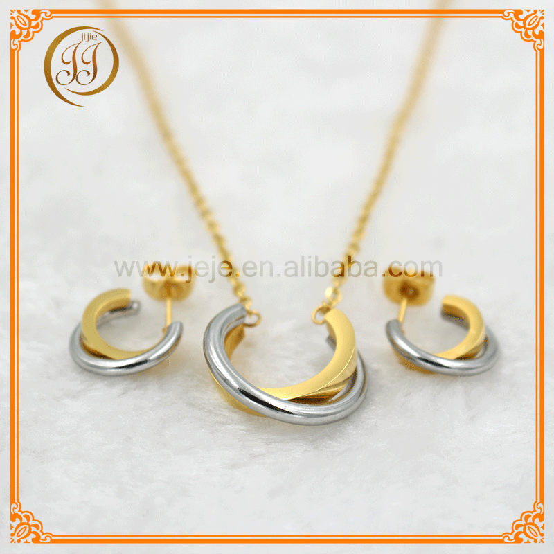Wholesale cheap Vietnam simple double color cable jewelry set