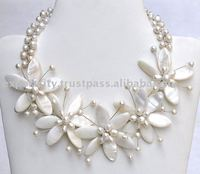 freshwater pearl and fine seashell glamour necklace (N100)