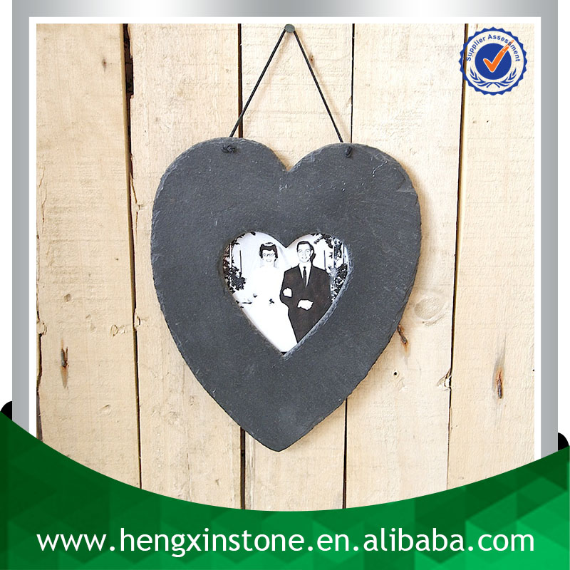Factory Direct Sales 32*19cm Handmade Decorative Natural Hanging Slate Heart Shape Photo Frame