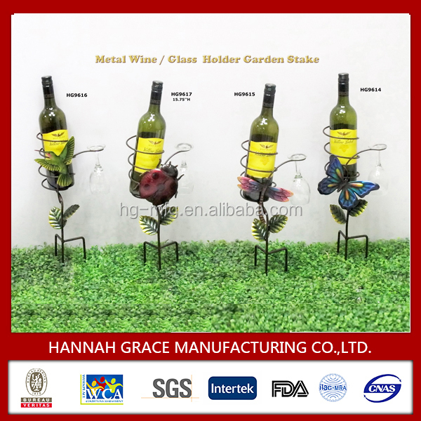 Bottle and Glass Metal Garden Stake Holder