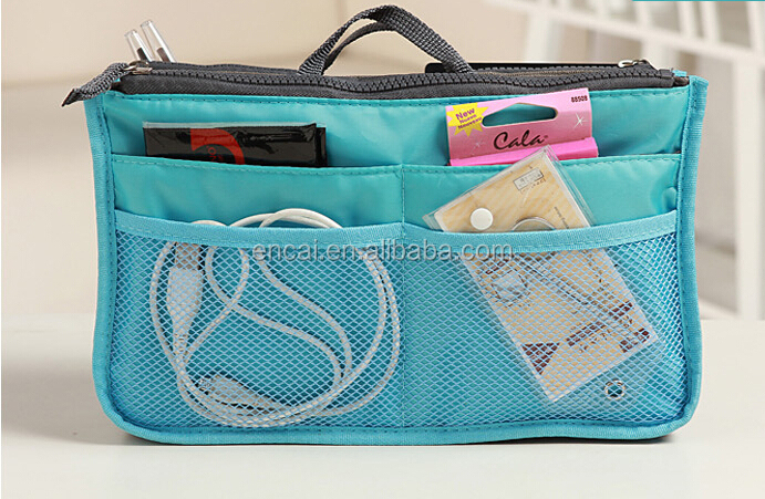 Encai Classic Design Bag In Bags Organizer Double Zipper Cosmetic Bags Inserts