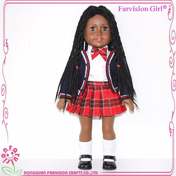 China Supplier Black African Dolls Large Girl Vinyl Dolls With long braid