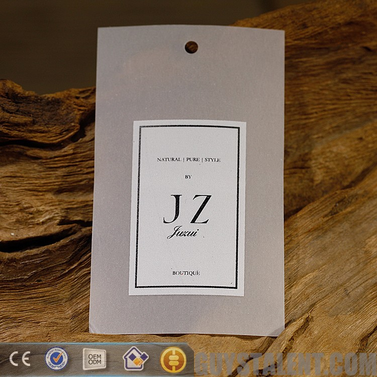 Customized professional translucent paper tag for clothing shop