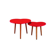 Red Heart-Shaped MDF Coffee Table Tea Table and Beech Leg