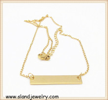 best selling products fashion stainless steel jewelry double-faced shinny finished engravable horizontal Gold bar Necklace