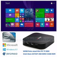 Fanless Mini Computer 2G Ram 32G ROM Intel Atom Z3735F Quad Core Set-Top Android TV Box Baytrail Mini PC Windows8.1 1080P HTPC