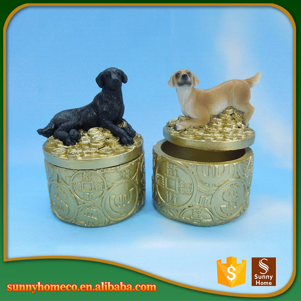 Resin Pet Sit Coin Decorative Barking Dog