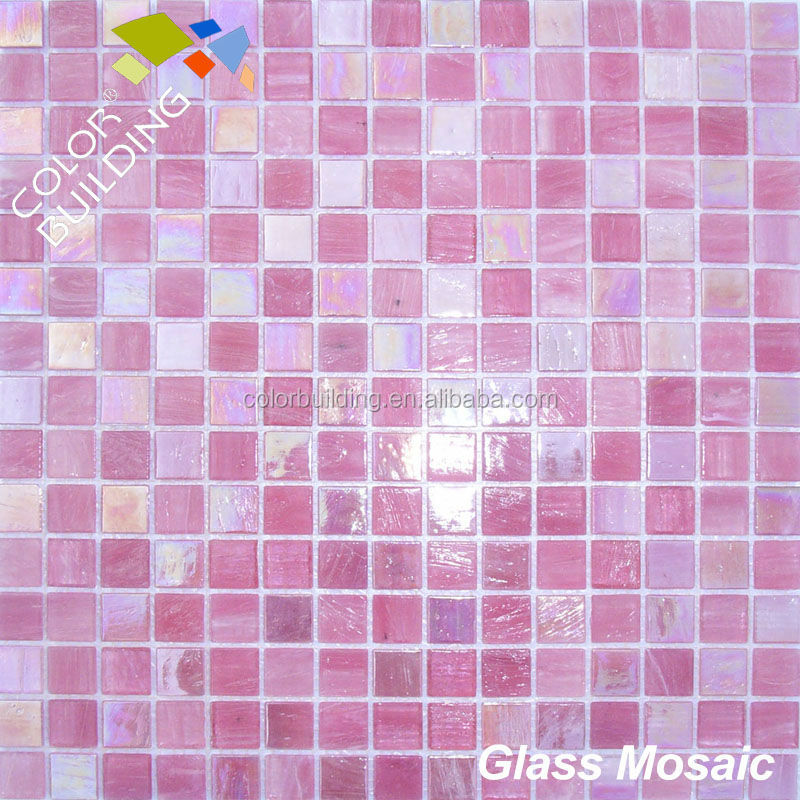 aventurine glass mosaic 4mm golden line mosaic pink color shining glass mosaic tile