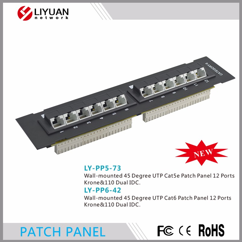 LY-PP6-42 12 port Wall-mounted 45 Degree krone IDC Rack Mount cat6 patch panel