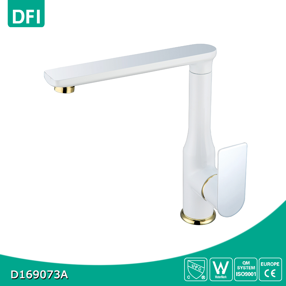 Single handle polished kitchen faucet sink mixer with white paint water tube