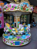 Six Players Horse Carousel new amusement outdoor kiddie ride used coin operated kids mini carousel ride for sale