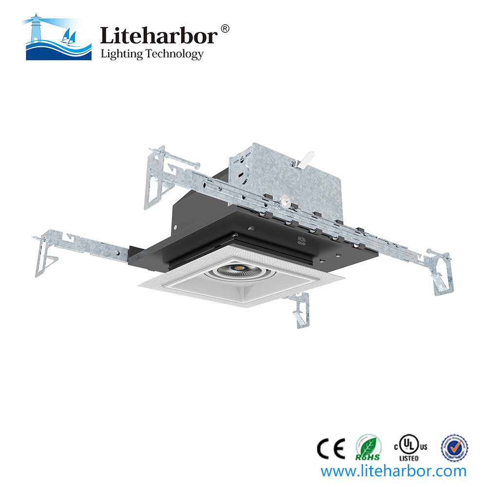 "China Factory Free Sample 4"" new construction trimless dimmable COB recessed mounted square led ceiling light"