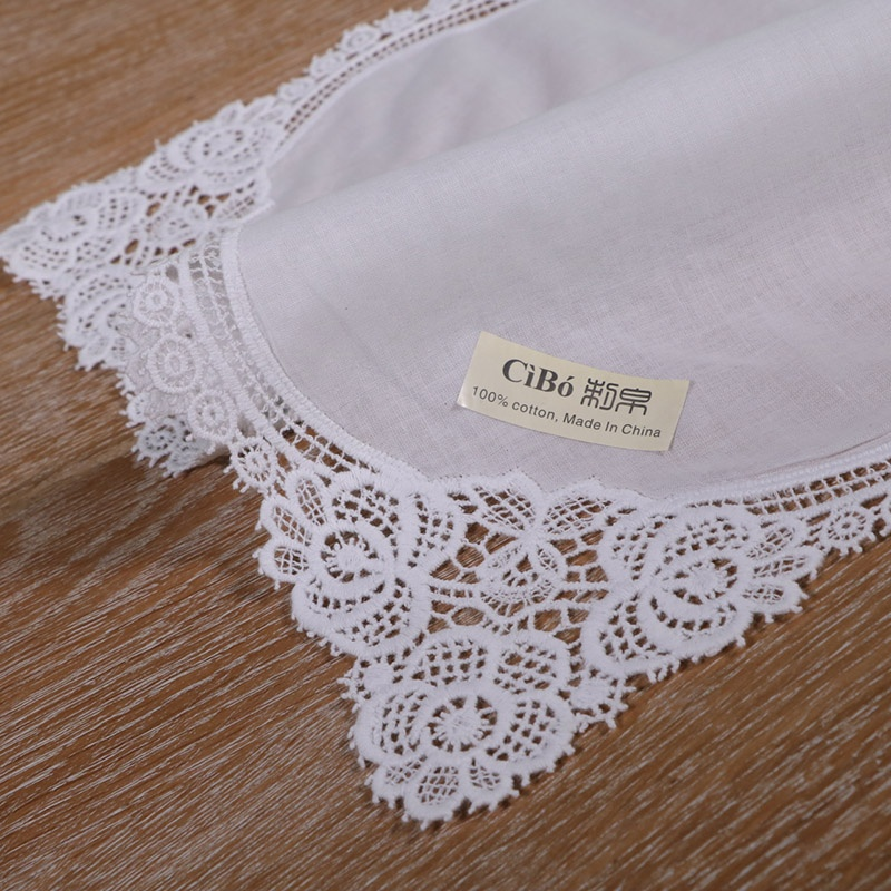 <strong>A001</strong>: White premium cotton lace handkerchiefs crochet hankies for women/ladies wedding gift