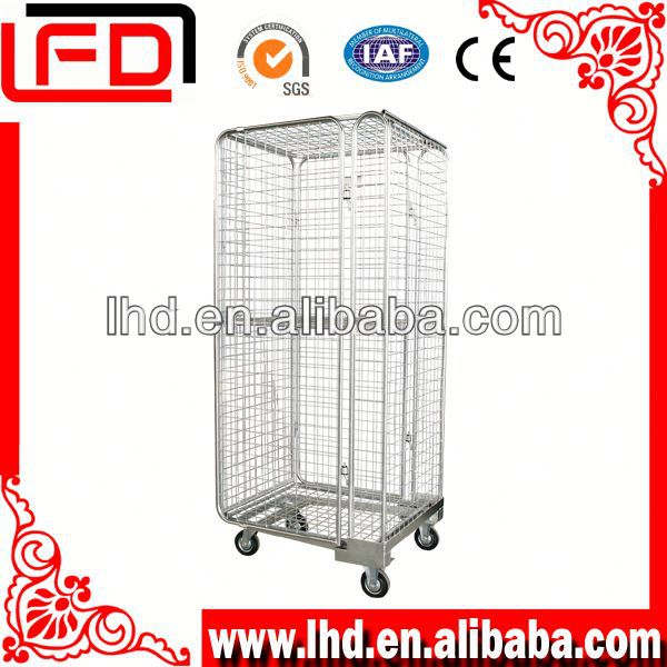 overlapping storage wire mesh roll hand trolly