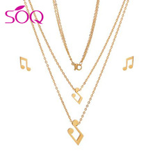 Cute Stainless Steel Jewelry Fashion Women Gold Plated 316L Pendant Earring Set Music Symbol Necklace Jewelry Set