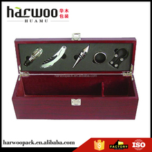 Harwoo Brand Fancy Wine bottle case with opener set with red color