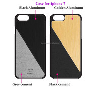 Factory price cement phone case with aluminum back cover for iphone 7 case