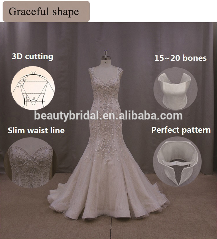cap sleeves wedding dress rhinestone appliques, pleasted mermaid bridal dress
