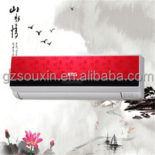 Red panel 9000BTU 1P 0.75TON Wall Split Air Conditioner China fashion design match with living room