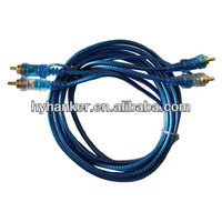 blue pvc braid shielded car audio cable power cable