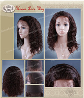 "F60 deep wave #2 dark brown color full hand tied lace wigs 102g 130% density 16inch length baby hair wigs 12""-24"" human remyhair"