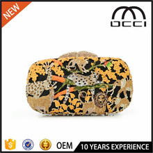 China Online Shopping Animal Prints tree bling crystal clutch ladies evening bags SC2286