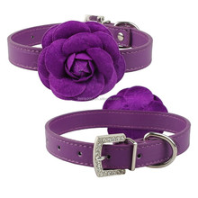 "1"" Width Sweet Flower Studded PU Leather Dog Pet Collars for Small & Medium Dogs"