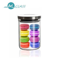Wholesale 900ml high borosilicate glass jar with stainless steel lid N6046