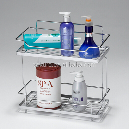 2 TIER CHROME WIRE STORAGE RACK FOR BATHROOM/CONER RACK,BATHROOM SHELVES