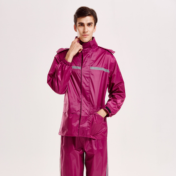 China manufacturer in stock wine red polyester raincoat with cap