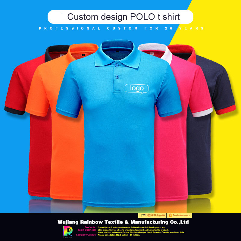 200gsm cotton polyester Essential short sleeve slim fit mens polo t shirt blank