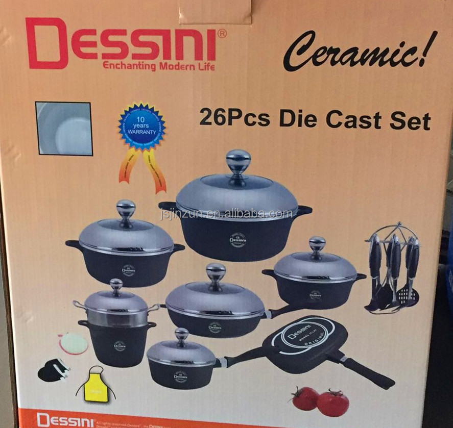 Dessini Cast Aluminum Nonstick white ceramic coated Cookware set