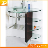 MDF Bathroom Cabinet Modern Design Cheap Glass Basin With Counter Top