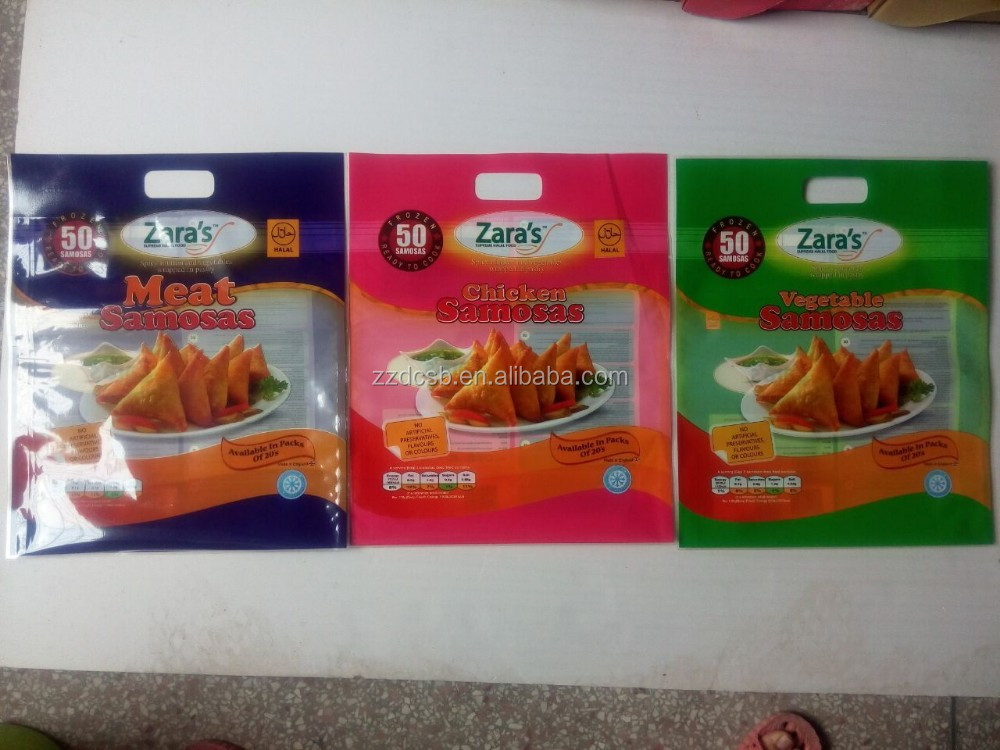 20s Frozen Spring Rolls / Samosas Packaging Bag With Hanging Handle & Clear Window