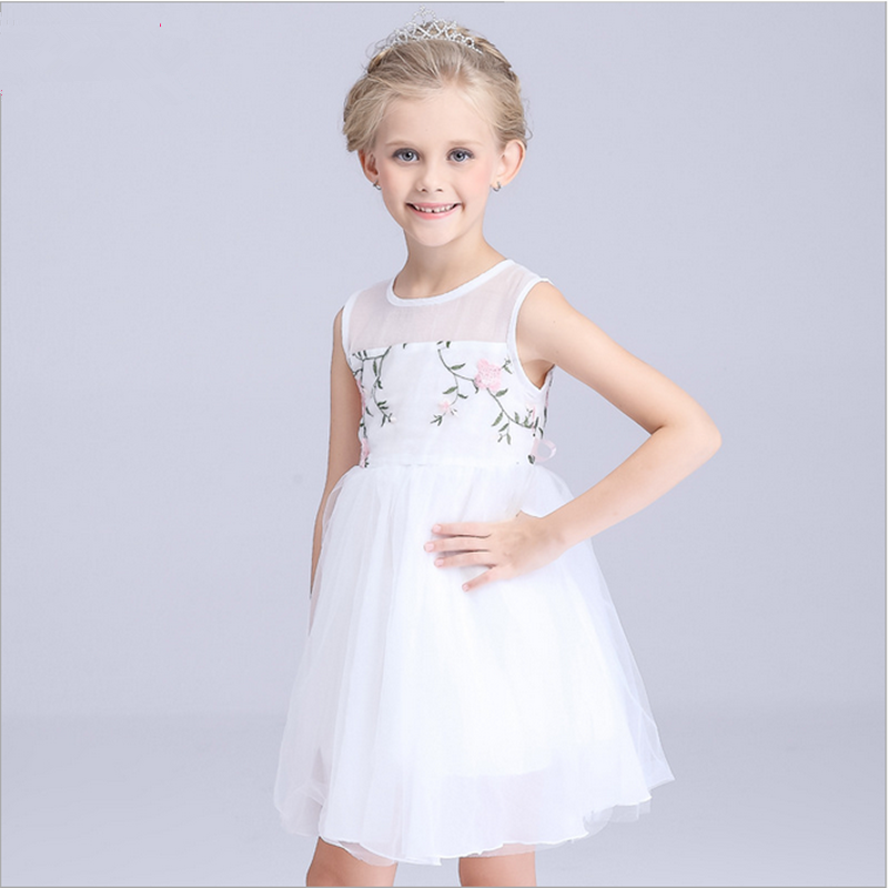summer hot plain hollow out chiffon party bountique cotton o-neck sundress pretty embroidery kids fancy dress photos